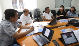 "POPE MASS TO BE HELD  IN TACLOBAN ------  Yedda Romualdez (2nd right) wife of Leyte (1st Dist) Rep. Ferdinand Martin ""FM"" Romualdez discusses with from left Msgr.Alex Opiniano, Fr.Rex Ramirez,and Msgr.Bernardo Pantin during their meeting at Sto Nino Cathedral in Tacloban City, the details of Pope Francis ceremonial mass to be held at the 15 hectares of Daniel Z.Romualdez (Tacloban) Airport Apron 9:30 Am on July 17, 2015.The Pope also will meet super typhoon Yolanda survivors after the Holy Mass.Looking on is Lia Te (right) of Sanctuarion de San Antonio Parish in Forbes Park Makati City.photo by Ver Noveno"