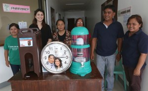 "Yedda Romualdez (2nd left) wife of Leyte (1st Dist) Rep.Ferdinand Martin ""FM"" Romualdez turn over turns over 2 water purifiers and wall clock to Head Nurse Yvonne Ligan (3rd left) of  Barangay San Jose Health Center in Tacloban City.Access to drinking water hs been a main problem of residents who were among those hardest hit  Super Typhoon Yolanda.Looking on are from right Health Worker Maria Sol Separra, Chairman Leo Bahin,Helath Worker Angeles Tabao,and Health Worker Susana Obinia.photo by Ver Noveno"