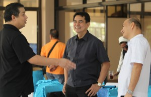 "ROMUALDEZ READY FOR PAPAL VISIT -----   Leyte (1st Dist) Rep.Ferdinand Martin ""FM"" Romualdez (left) discusses preparations for Pope Francis visit to Yolanda-devastated Tacloban City with Sto Nino Church Parish Priest Msgr Alex Opiniano (center) and Palo Cathedral Parish Priest Vicar-General Msgr Rex Ramirez (right) ,during the meeting with church and other government representatives at the Archdiocesan Chancery and Pastoral Center in Palo Leyte.Pope Francis will celebrate Holy Mass at the Apron of Tacloban City Airport .photo by Ver Noveno"