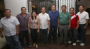 "RICE RATOONING -----  Leyte (1st Dist) Rep.Ferdinand Martin ""FM"" Romualdez (4th right) meets with Sta Fe, Leyte Mayor Oscar Monteza (2nd right) and Councilors from left Eduardo Torreros, Marvin Collado,Karen Abuyabor (fiancee of Collado) ,Bong Echague, Municipal Secretary Romeo Grisola, and ABC Pres.Belen Chuca, to discuss and provide rice seeds for the farmers from  Yolanda-stricken area of Sta Fe.Cong Romualdez in partnership with the Department of Agriculture in Region 8 will start distributing seeds for Rice Ratooning - the rice plants with the ability to regenerates new tillers after harvest  and practical way to increase rice production.photo by Ver Noveno"