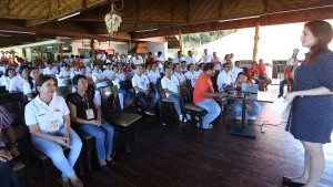 "TRAINING PROGRAM FOR BGY CHIEFS  ------   Yedda Romualdez (right) wife of Leyte (1st Dist) Rep.Ferdinand Martin ""FM"" Romualdez delivers her message to 116 Barangay Chairmen of Tacloban City  during a two day training on "" Katarungang Pambarangay Law "" held at Papa Kits's Marina & Fishing Lagoon Silot Bay,Liloan Cebu.Romualdez in partnership with the Deparment of Interior and Local Government (DILG) and Department of Labor and Employment (DOLE) sponsored the training program for chairmen to help them handle barangay cases properly,also in photo are ABC President Eden Chua-Pineda (left) and DOLE Representative Lilibell Arong (2nd left).photo by Ver Noveno"