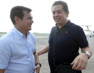 "Leyte (1st Dist) Rep.Ferdinand Martin ""FM"" G.Romualdez (right) warmly welcomes Manila Vice-Mayor Isko Moreno at Daniel Z. Romualdez (Tacloban City) Airport.Moreno as a president of Vice Mayor's League of the Philippines is in Tacloban to give financial and legal assistance to Villaba Leyte Vice-Mayor Claudio Martin Larrazabal who was slain in ambushed by two  riding in tandem gunman recently at Villaba Leyte.photo by Ver Noveno"