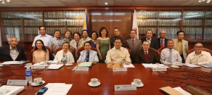 "Philippine Consitution Association President and Leyte (1st Dist) Rep.Ferdinand Martin ""FM"" Romualdez (4th right seated) will receive a one classroom donation from Philconsa Chairman and CEO Manuel Lazaro (4th left seated) during a monthly members meeting at Malate Manila.The members will go to Tacloban City on Sunday to inspect the site of the school.Looking on are from left seated Consul Ceferino Benedicto,Margarita Cojuangco, Nelia Gonzalez, Aniano Desierto, Saeed Daof,Atty Rodolfo ""Inky"" Reyes, (from left standing) Gen. Hermogenes Esperon,Eduardo Balauro, Tessie Roque, Mary Ann Susano,Carmencita Aguilar, Agnes VST Devanadera, Rafaelita Gono, Daniel Victoria, Reynaldo Maulit, Hermenegildo Dumlao,Ret,Justice Oswaldo Agcaoili, and Romulo Lumawig.photo by Ver Noveno"
