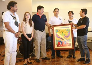 "PHIL-POST Marketing Director Enrique Tagle (right) presented a copy of 'TINDOG PINOY' stamp to Tacloban City Mayor Alfred Romualdez (3rd left) during the 1st Year Anniversary Celebration of Typhoon Yolanda at Patio Victoria in Tacloban City.Phil-Post launches 'TINDOG PINOY' stamps showing Filipinos resiliency against super typhoon Yolanda.Looking on are from left Philippine Chamber of Mines President Philip G. Romualdez, Councilor Cristina Romualdez, Leyte (1st Dist) Rep.Ferdinand Martin ""FM"" G.Romualdez,and Senator Ferdinand ""Bongbong"" Marcos.photo by Ver Noveno"