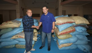 "ROMUALDEZES FIRST TO AID EASTERN SAMAR ---   Leyte (1st Dist) Rep.Ferdinand Martin ""FM"" Romualdez (right) in partnership with Tacloban City Mayor Alfred Romualdez (not in photo) turns over two truck load of rice,noodles,can goods,bottled waters and medicines to Eastern Samar Governor Conrado Nicart Jr. (left) to help victims of typhoon Ruby.Cong Romualdez sent volunteer medical teams,rescue groups,and heavy equipment with trucks to help for the clearing debris along the roads of Borongan City and other parts of the province.photo by Ver Noveno"