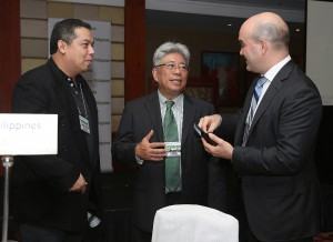 "House Independent Minority Bloc leader and Leyte (1st Dist) Rep. Ferdinand Martin ""FM""  Romualdez (left) meets with Urban Land Institute Chief Executive John Fitzgerald (right) and Urban Land Institute  Philippines Chairman Carlos Rufino (center) during the forum on Emerging Trends in Real State Asia Pacific 2015 at Makati Shangrila Hotel.Fitsgerald and Rufino expresses gratitude to Rep.Romualdez for providing assistance to ULI team who conducted urban planning for typhoon Yolanda stricken area in Leyte.photo by Ver Noveno"