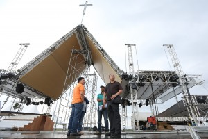 "Leyte (1st Dist) Rep. Ferdinand Martin ""FM"" Romualdez (right) inspected the new unfinished construction of  Altar at the Apron of Daniel Z. Romualdez (Tacloban) Airport in Tacloban City.Pope Francis will celebrate mass minutes after his plane landed on January 17 at 9:00 Am with an estimated of more than 100,000 devotees to attend .photo by Ver Noveno"